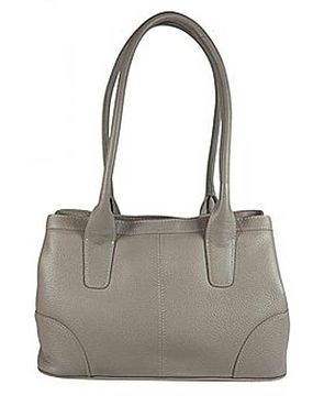 Leather Twin Compartment Bag - Taupe