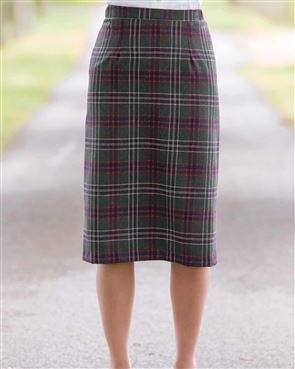 Marden Wool Mix Checked Straight Skirt