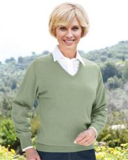 Merino Wool V neck Sweater  Ladies