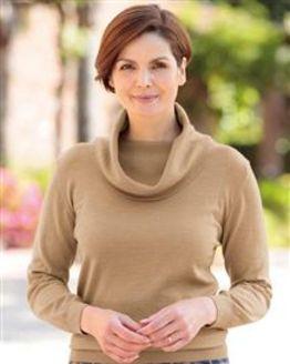 Merino Wool Toffee Cowl Neck Sweater