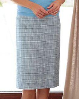 Rimini Checked Cotton Mix Straight Skirt