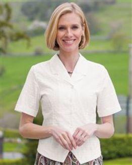 Angela White Cotton Rich Blouse