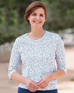 Julia Floral Silky Cotton Blouson Top