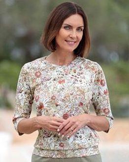 Theresa Floral Silky Cotton Blouson Top