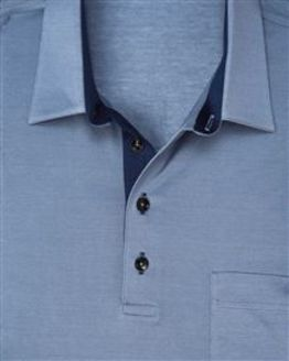 Blue Pure Cotton Short Sleeve Polo Shirt