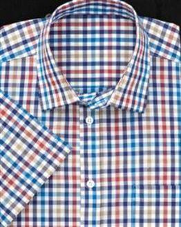Pure Cotton Short Sleeve Multi Coloured Check Shirt