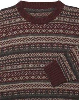 Burgundy Shetland Fairisle Crew Neck Sweater Mens