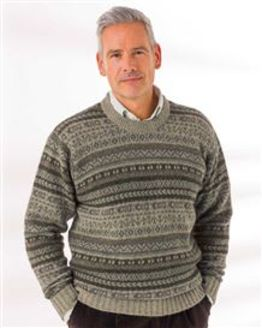 Green Shetland Fairisle Crew Neck Sweater Mens