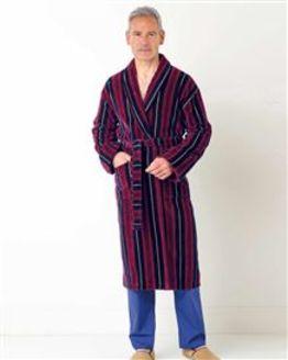 Stripe Velour Dressing Gown