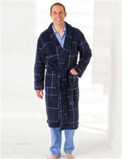 Mens Navy Fleece Dressing Gown