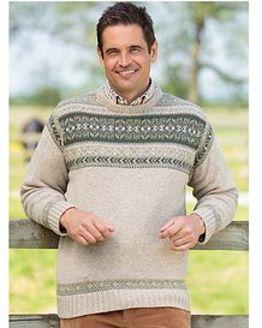 Natural Crew Neck Fairisle Sweater  Mens