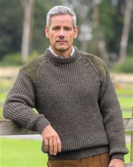 Green Fishermans Rib Sweater Mens