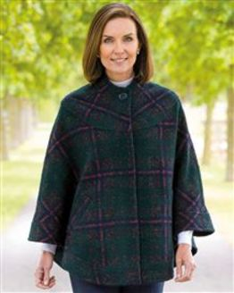 Melksham Wool Mix Checked Cape