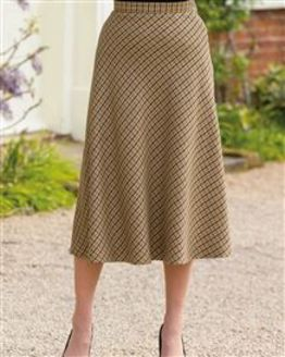 Melbourn Wool Blend Checked Skirt