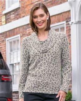 TIGI Leopard Print Cowl Neck Top