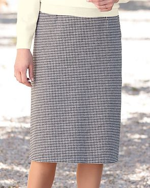 Oxford Black And White Checked Wool Mix Straight Skirt
