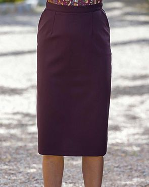 Sandown Wool Mix Straight Skirt - Damson