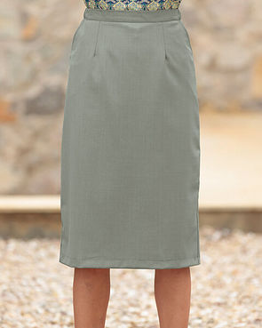 Sandown Wool Mix Straight Skirt - Light Olive