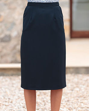 Sandown Wool Mix Straight Skirt - Navy