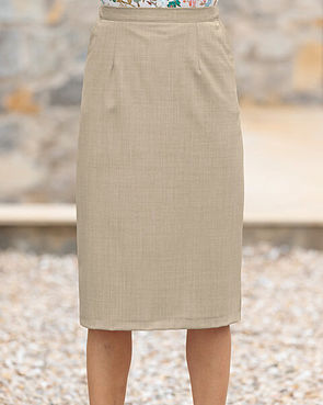 Sandown Wool Mix Straight Skirt - Stone