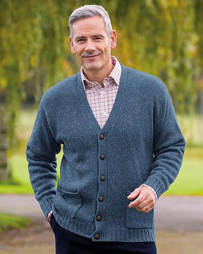 Shetland Cardigan  Mens - Denim