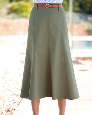 Chino Pure Cotton Twill Flared Skirt - Olive