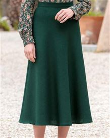 Corbridge Forest Green Pure Wool Tweed Skirt