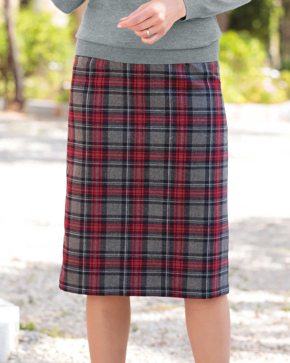 Lanercost Wool Mix Checked Straight Skirt