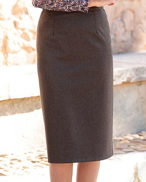 Flannel Straight Skirt - Chocolate