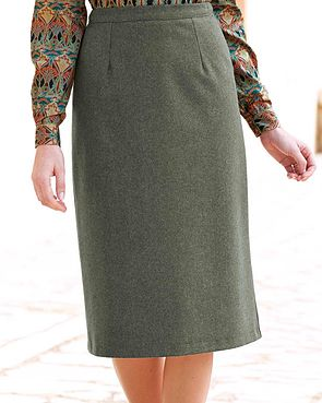 Flannel Straight Skirt - Loden