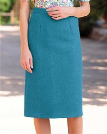 Naples Teal Pure Shetland Wool Tweed Straight Skirt