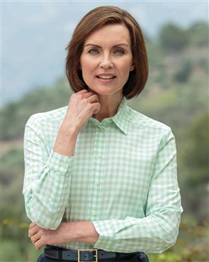 Belinda Checked Pure Cotton Mint Blouse