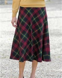 Cambourne Wool Blend Checked Skirt