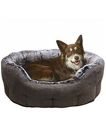 Faux Suede and Fur Basket Dog Bed