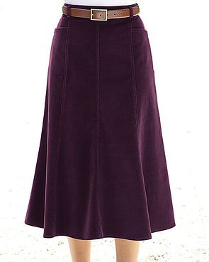 Needlecord Skirt  - Aubergine