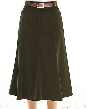 Needlecord Skirt  - Olive