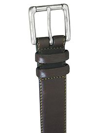 Contrast Stitch Brown Leather Belt
