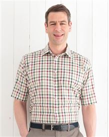Pure Cotton Short Sleeve Wine Olive and Cream Check Shirt