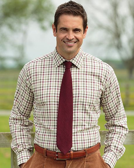 Tattersall Check Cotton and Wool Cream, Green and Red Shirt