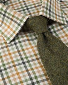 Tattersall Check Cotton and Wool Shirt in Green, Tan and Orange.