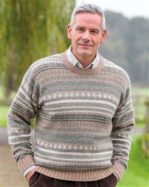 Shetland Natural and Green Fairisle Crew Neck Sweater
