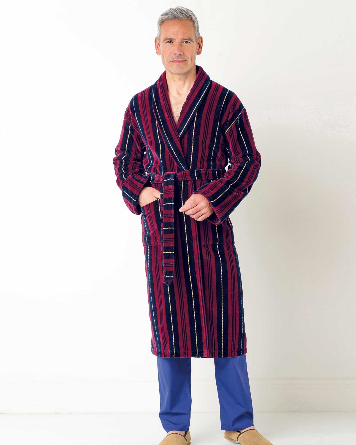 Mens Stripe Velour Dressing Gown. Sizes M-XXL. Machine Washable.