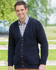 Navy Fishermans Rib Cardigan