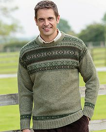 Pale Green Crew Neck Fairisle Sweater  Mens