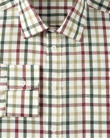 Casual Long Sleeve Red, Brown and Green check Shirt