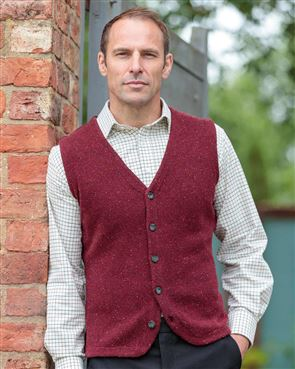 Lambswool Claret Knitted Waistcoat  Mens