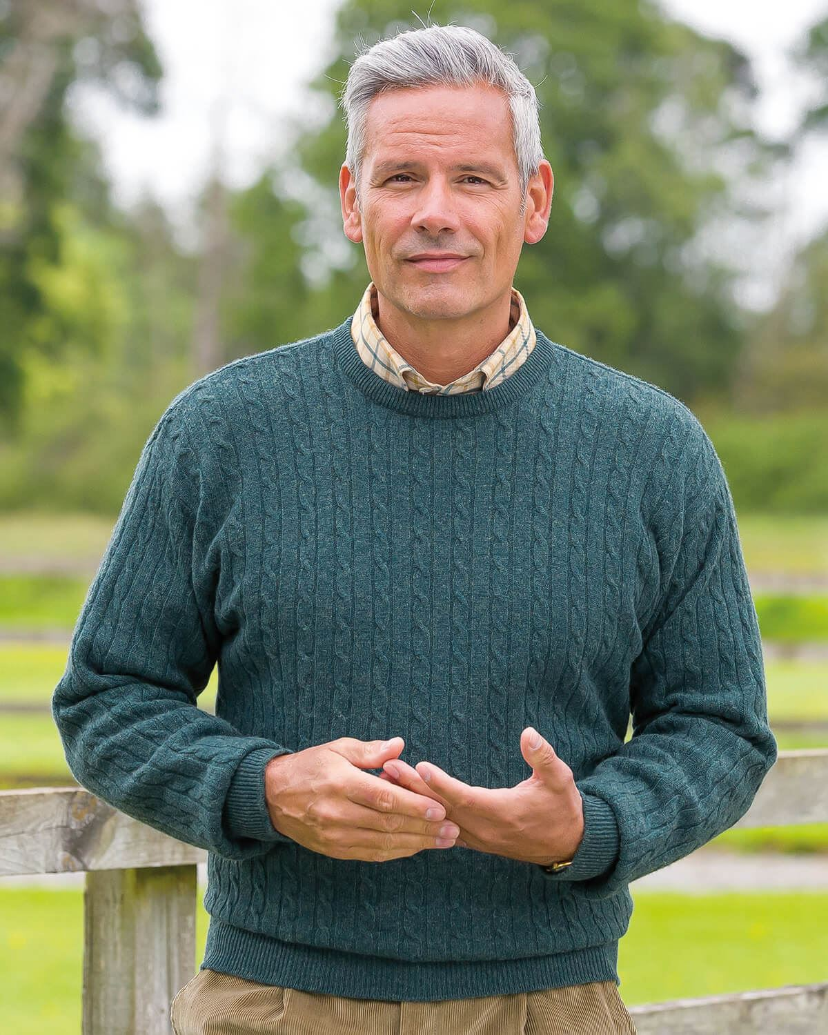 Cable Crew Neck Sweater - Mens