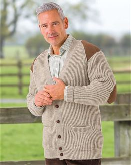 Natural Fishermans Rib Cardigan  Mens