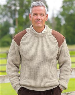 Natural Fishermans Rib Sweater Mens