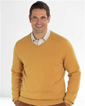 Lambswool Yellow V Neck Sweater